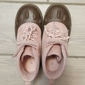 Carter's pink lace up duck boots